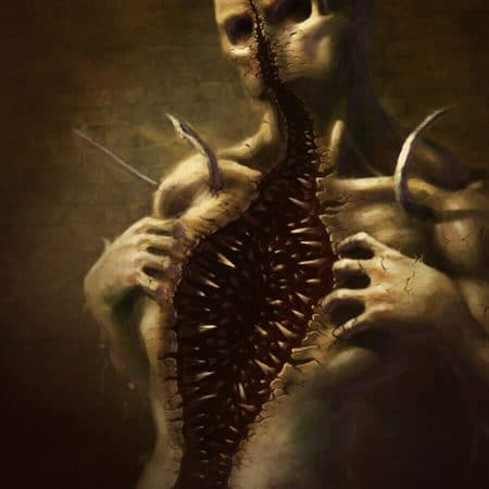 Monster ripping its chest apart digital painting by Adam Miconi