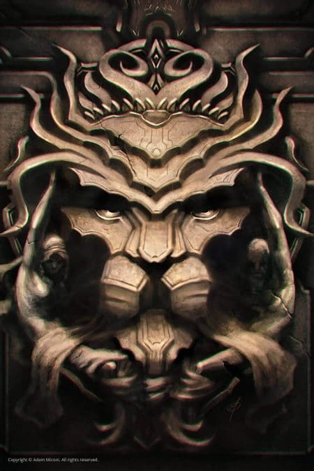 Lion crest digital painting by Adam Miconi