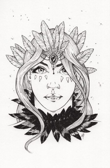 Feather Crown and Necklace by Adam Miconi